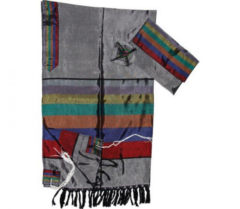 Gabrieli Tallit Silk - Gray with Colorful Wide Stripes