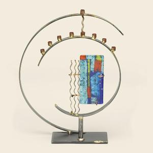 Circular Art Deco Menorah - Glass, Steel, Copper
