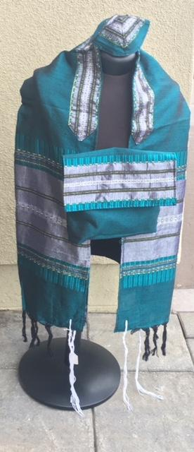 Silk Tallit- Green and Gray