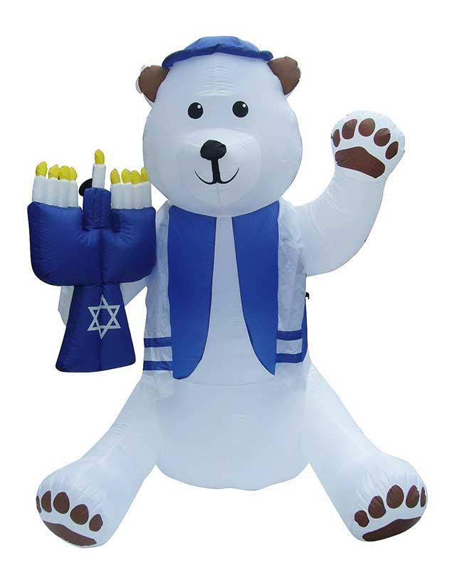 Blowup Lawn Airblown Inflatable Bear Holding Menorah - 7'Tall