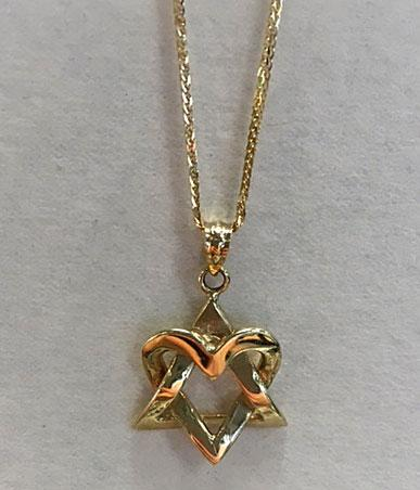 Heart Star of David Necklace - 14kt Gold