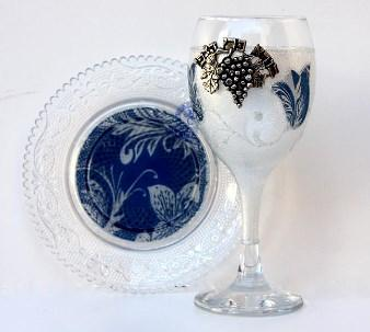 Blue Tulip Kiddush Cup - Glass