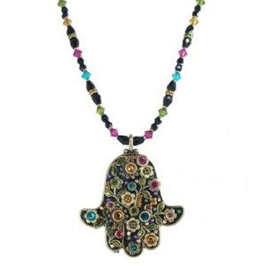 Extra Large Multicolored Beaded Floral Hamsa - Metal