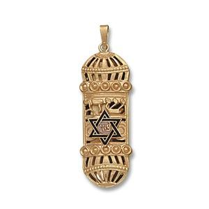 Mezuzah with Blue Star of David - Gold