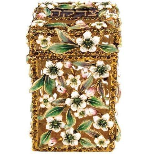 TZEDAKAH BOX WITH FLOWERS AND GREEN STONES