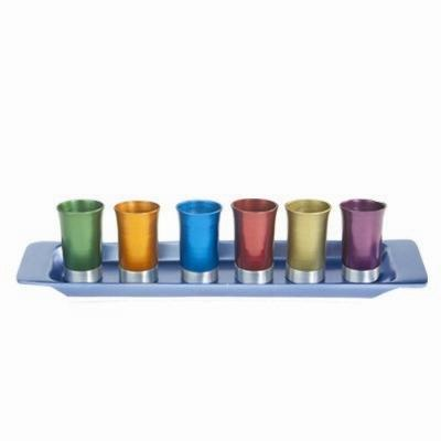 Multicolor Kiddush Cup Set - Anodized Aluminum