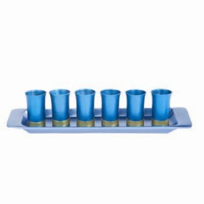 Turquoise Kiddush Cup Set - Anodized Aluminum