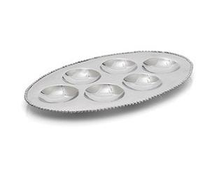 Molten 6 Compartment Seder Plate - Stainless Steel