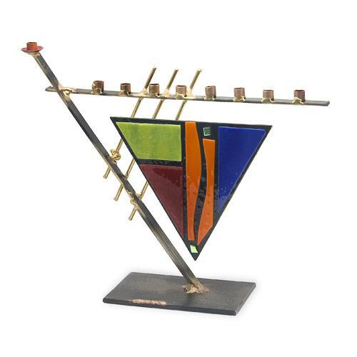 Art Deco Triangle with Colored Glass Menorah A21S