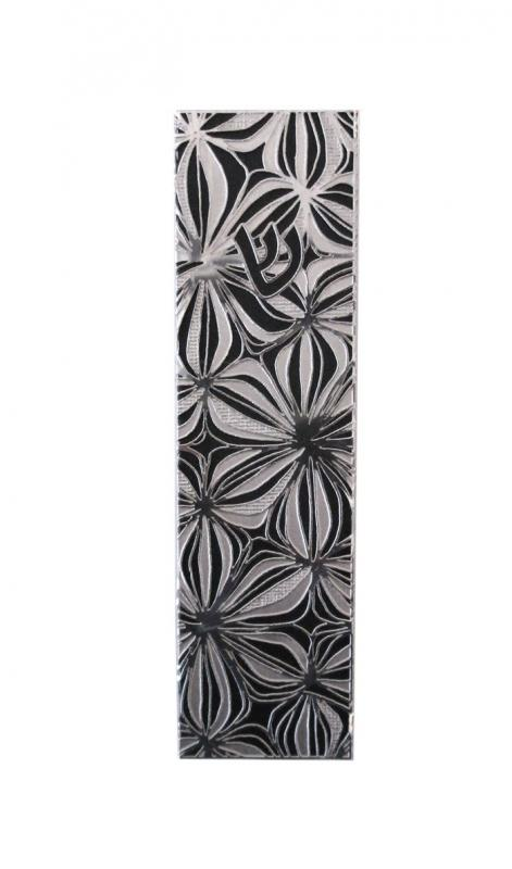 Black & White Stainless Steel Mezuzah by Metalace Art