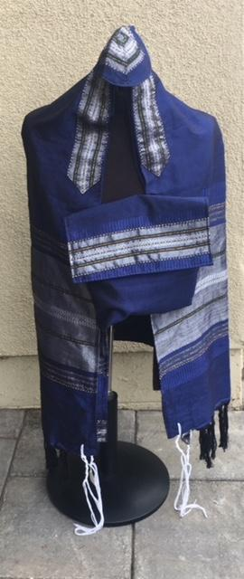 Silk Tallit- Navy and Silver