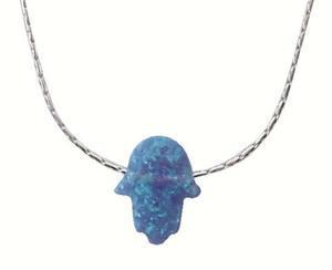 Opal Blue Hamsa Necklace - Silver