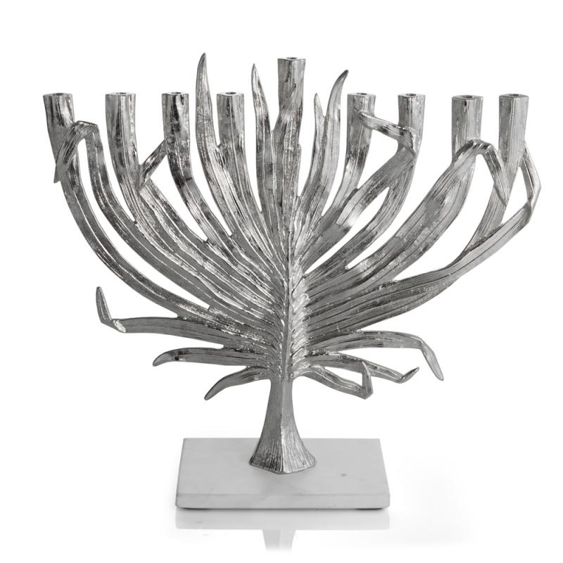 Palm Menorah - Nickelplate