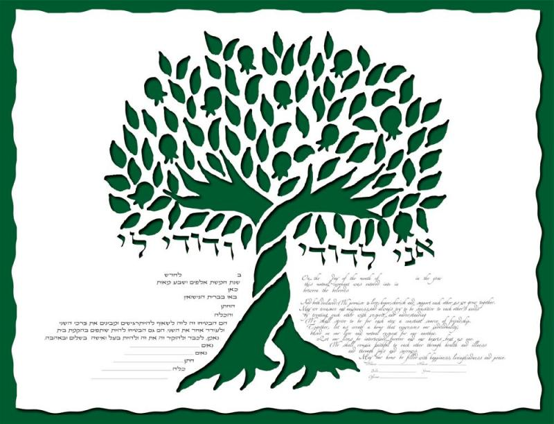 Pomegranate Tree Ketubah in Forest Green