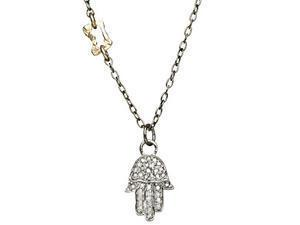 Hamsa Pendant with Diamonds - Sterling Silver