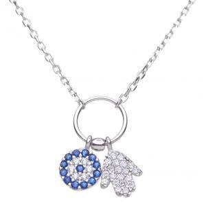Hamsa and Evil Eye Necklace - Sterling Silver