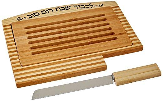 Bamboo Challah tray with crumb tray and knife