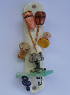 Drums Mezuzah - Painted Porcelain