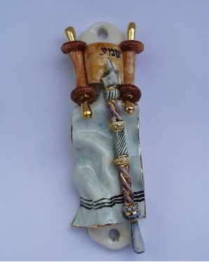 Bar Mitzvah Mezuzah - Painted Porcelain