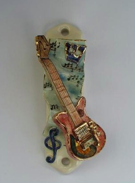 Electric Guitar Mezuzah - Painted Porcelain