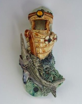 Fishing Boat Mezuzah 2 - Painted Porcelain