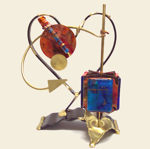 Original Wedding Dreidel with Shards Tube - Glass, Steel, and Copper
