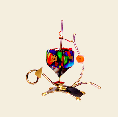 Small Elegant Dreidel - Glass, Steel, and Copper