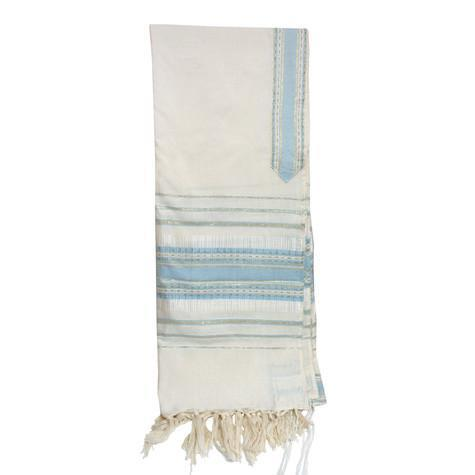 Gabrieli silk Tallit - Blue on white