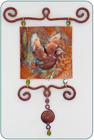 Dove Wall Tile by Ahuva Elany - Copper