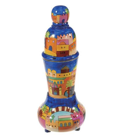 Jerusalem Stacking Havdalah Set - Painted Wood
