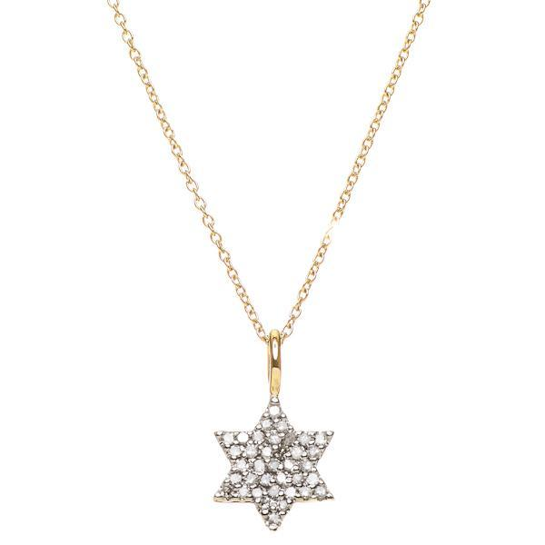 Star of David, 14k Yellow Gold with Diamonds, FS by Alef Bet