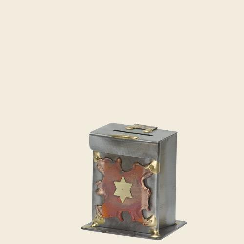 Copper Star Tzedakah Box - Steel and Copper