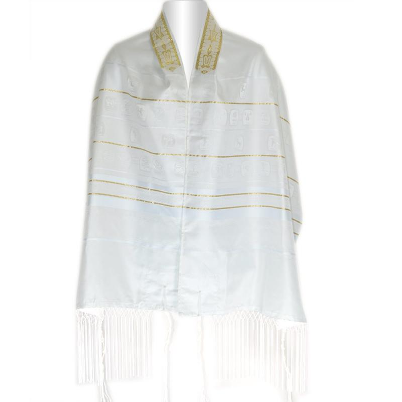 White And Gold Stripe Shvotim Talis
